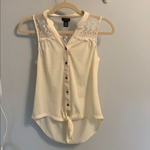 Rue21 Tank top with tie at bottom and lace detail